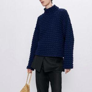 Zara Textured Weave Navy Mock Neck Top